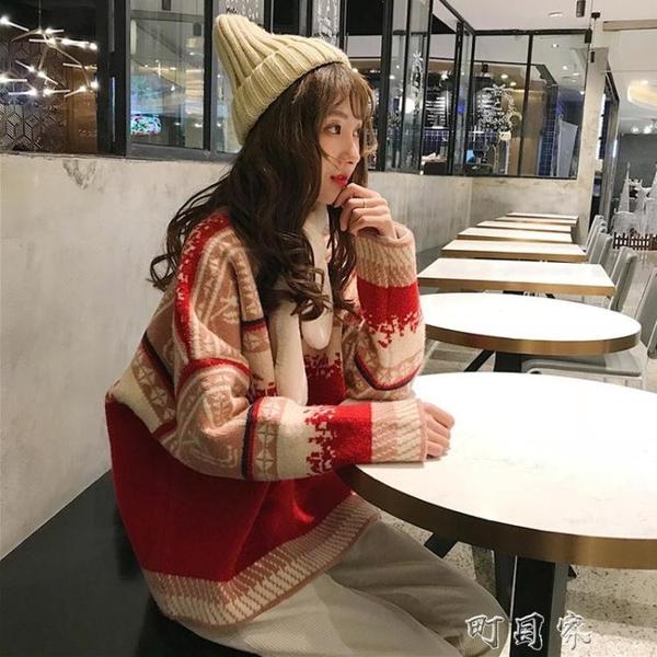 聖誕節主題毛衣女套頭森繫寬鬆外穿網紅ins潮慵懶風秋冬加厚外套 交換禮物