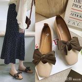 蝴蝶結方頭小單鞋女2019夏季新款韓版復古森女風平底懶人豆豆鞋 俏girl