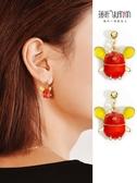 耳夾無耳洞女本命年紅色福鼠耳釘女耳環潮氣質長款小耳墜鼠年耳飾