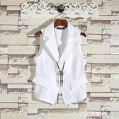 西裝馬甲韓版潮流帥氣男士馬甲薄款修身西裝領外套無袖潮牌純色工裝馬夾男 金曼麗莎