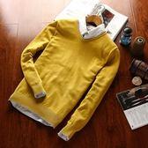 針織毛衣-V領秋季純色套頭長袖男針織衫9色73pg3【巴黎精品】