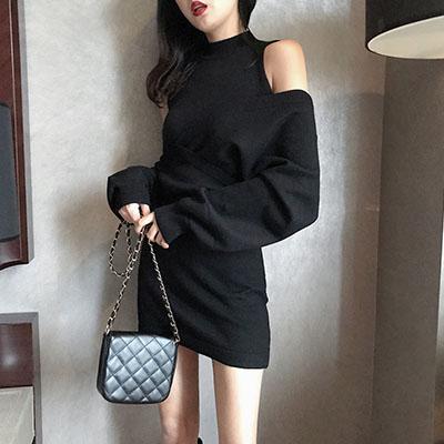 Qmigirl 時尚大V領毛衣+顯瘦無袖背心裙【WT1982】