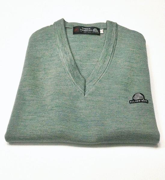 男士 針織毛衣 防縮 V領毛衣 純羊毛衣 三燕牌羊毛上衣 美麗諾羊毛 100%純羊毛 7972-8  V領 淺綠色
