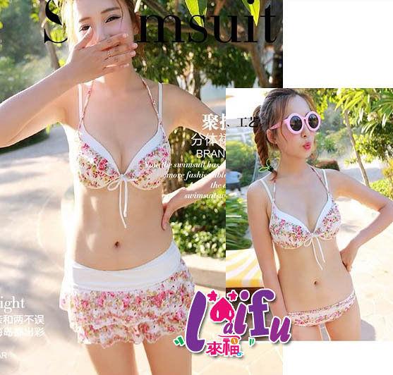 得來福,C298泳衣小清新美人三件式泳衣適小胸游泳衣泳裝比基尼,售價880元