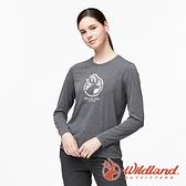 【wildland 荒野】女 彈性LOGO印花長袖上衣『深灰』0A91617 運動 露營 登山 吸濕 排汗 快乾