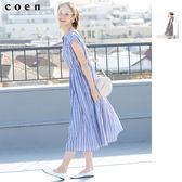 腰間抓皺 中長洋裝 直條紋 小方格格紋 免運費 日本品牌【coen】