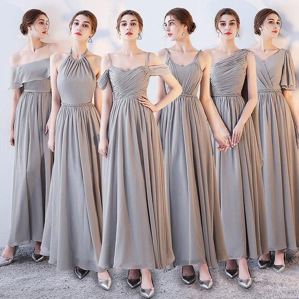 伴娘禮服 長款 2020新款夏季伴娘團姐妹裙灰色 伴娘服晚禮服女連身裙 洋裝伴娘禮服  降價兩天