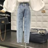 [S-5XL] 直筒老爹褲女高腰寬鬆九分牛仔褲大碼學生闊腿初戀褲 - 巴黎衣櫃