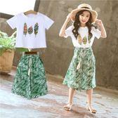 女童夏裝時髦套裝女孩短袖兒童洋氣時尚闊腿褲兩件式潮衣