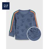 Gap男幼童Disney迪士尼系列圓領長袖套頭T恤521473-灰藍色