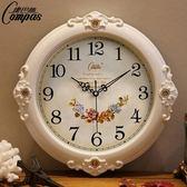 康巴絲靜音掛鐘現代客廳時鐘歐式復古田園掛錶時尚鐘錶創意石英鐘 免運直出 聖誕交換禮物