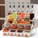 創意廚房用品陶瓷調味罐套裝玻璃醬油瓶醋壺防漏歐式雙層調料架盒   LannaS
