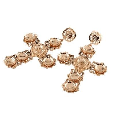 鍍18K金耳環-歐美時尚超大十字架女耳飾73ns42[時尚巴黎]