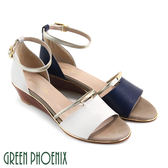 U50-29342 女款全真皮楔型涼鞋  一字金屬編織壓紋全真皮繞踝楔型涼鞋【GREEN PHOENIX】