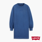 Levis 女款 重磅大學T洋裝 / 精工全一色刺繡Logo / 復古打摺寬袖 / 360GSM厚棉 / 飄洗藍
