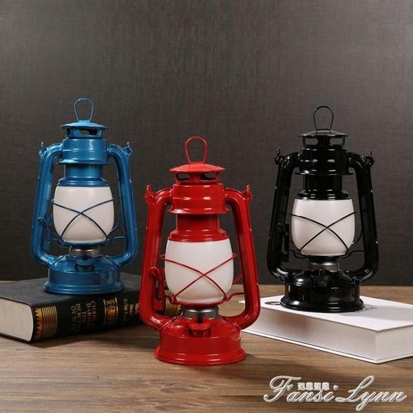 復古桌燈充電煤油燈擺件玻璃燈罩老式懷舊露營馬燈家居裝飾品擺設 范思蓮恩