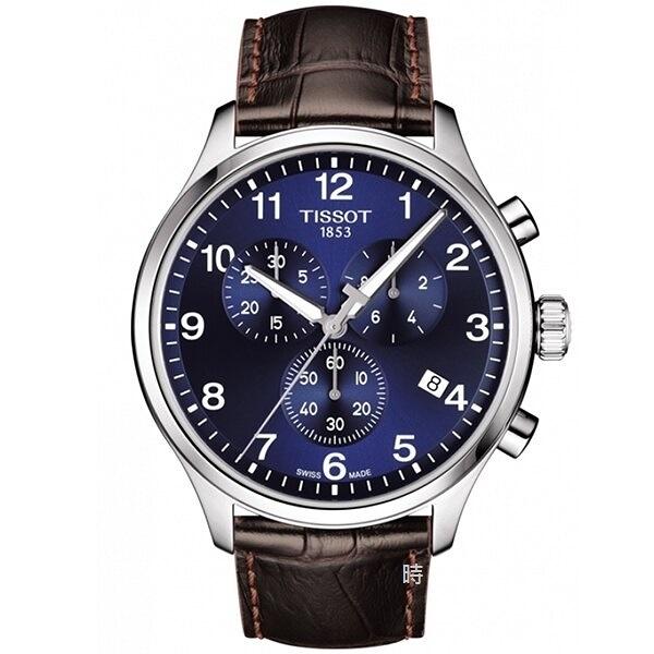 TISSOT 天梭/韻馳系列 三眼計時手錶 (T1166171604700) 藍/45mm