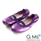 G.Ms. 童鞋-金屬羊皮鬆緊口可攜式娃娃鞋(附鞋袋)*深紫