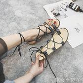 平底涼鞋歐美時尚腳環綁帶套腳女時尚百搭民族風防滑羅馬鞋  全館免運