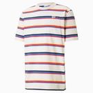 PUMA Downtown 男裝 短袖 純棉 休閒 刺繡 條紋 紅藍白 歐規【運動世界】53020023