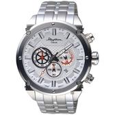 RHYTHM日本麗聲 時尚霸氣計時手錶-銀/48mm SI1612S01