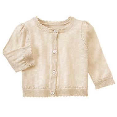 Gymboree 美國童裝 針織罩衫 薄外套 米色 6-12M 12-18M