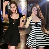 夜店洋裝低胸露背性感夜場工裝條紋短裙收腰顯瘦夜店女裝洋裝新款潮時尚新品