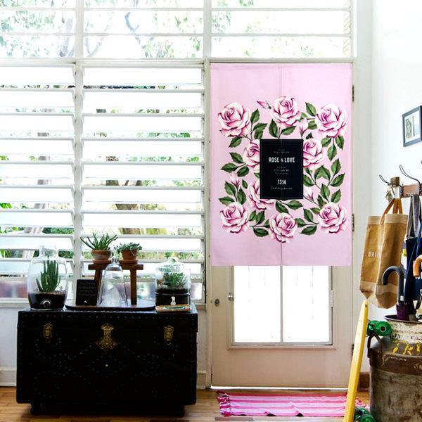 可愛時尚棉麻門簾E297 廚房半簾 咖啡簾 窗幔簾 穿杆簾 風水簾 (85寬*90cm高)