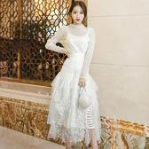 禮服 兩件套女神范半高領蕾絲上衣長袖打底衫高腰網紗半身裙