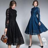 禮服 - 裝修身顯瘦復古優雅蕾絲中長款連身裙女【韓衣舍】