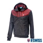 K-SWISS Camo Pannel Jacket印花風衣外套-男-紅迷彩/黑