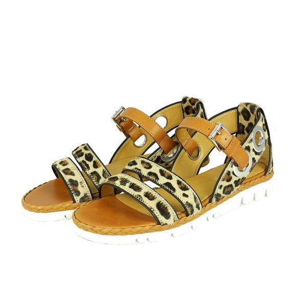 【Zamagni】 豹紋毛呢拼駝色涼鞋 5347-1