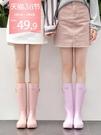 糖果色雨鞋女時尚款外穿高筒韓國水靴女士水鞋可愛晴雨靴加絨防滑 快速出貨
