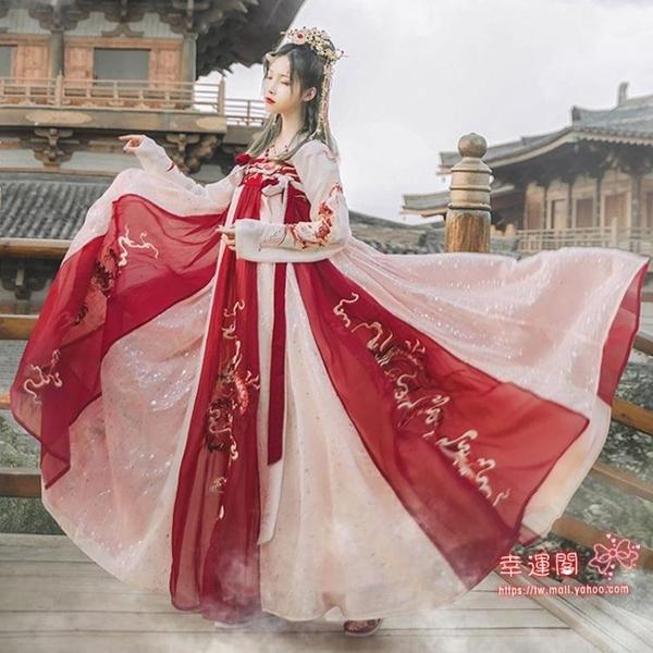 古裝漢服 龍母漢服女中國風齊胸襦裙原創學生古裝櫻花超仙氣小個子夏季T S-XL