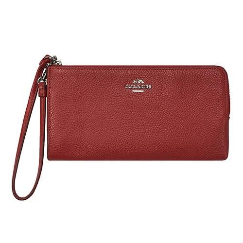 米菲客 COACH 53892 經典馬車LOGO設計 時尚素面 荔枝紋皮革 手掛式 長夾 手拿包 (紅)