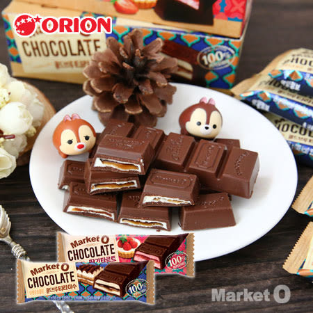 韓國 ORION 好麗友 醬心巧克力(單支) 28g Market O 巧克力 咖啡提拉米蘇 草莓 醬心