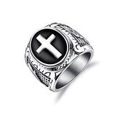 316L醫療鋼 復古黑色十字架 寬版戒指-銀 防抗過敏 不退色