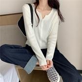 針織上衣女2020年新款秋季韓版白色短款長袖外搭開衫女薄款小外套