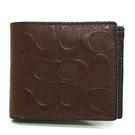 【COACH】專櫃C LOGO 壓紋全皮革 8卡對折輕便短夾附活動證件夾(深咖)