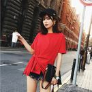 不規則夏季純棉交叉打結圓領短袖T恤女上衣修身不規則體恤酒紅色打底衫 【品質保證】