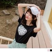 《AB7187-》心型鏤空蕾絲雕花高含棉T恤/上衣 OB嚴選