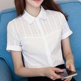 白襯衫 短袖夏裝新款雪紡韓版女士上衣白色職業襯衣 GB4476『東京衣社』
