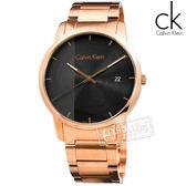 CK / K2G2G643 / 經典直條紋 日期視窗 瑞士製造 不鏽鋼手錶 黑x鍍玫瑰金 43mm