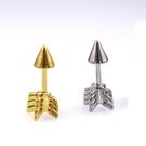 316L醫療鋼 弓箭羽毛箭 旋轉式耳環-金、銀 防抗過敏 單支販售