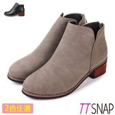 TTSNAP短靴-細緻微尖纖細後拉鍊中跟靴 黑/卡其