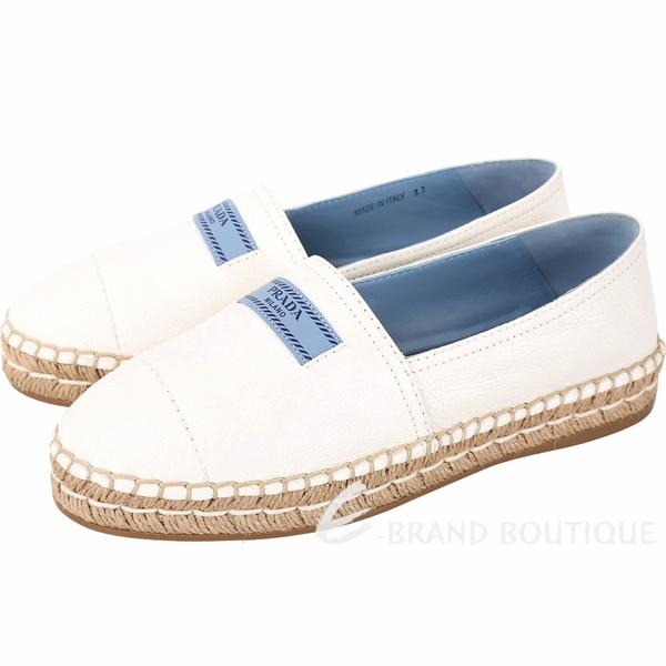 PRADA Etiquette 小藍標牛皮草編鞋(白色) 1830247-20