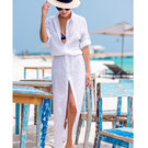 罩衫 排釦 開襟 薄款 皺褶 連身裙 長裙 沙灘 比基尼 罩衫【ZSQZ170】 icoca  04/26