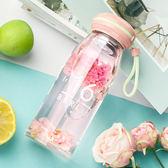 萬聖節大促銷 玻璃杯女便攜杯子花茶杯韓國創意簡約清新可愛帶蓋耐熱學生水杯