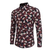 長袖襯衫-印花樹葉圖案時尚休閒男上衣2色73po15【巴黎精品】