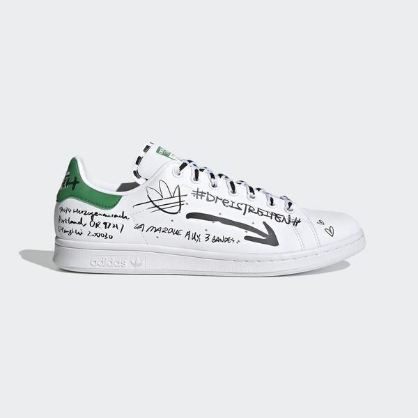 【陸壹捌折後$3280】adidas 休閒鞋 Stan Smith 白 綠 黑 塗鴉 運動鞋 男鞋 女鞋 GV9800